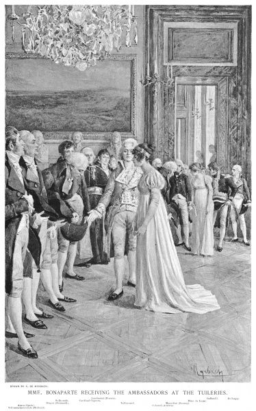 Josephine, wife of the First Consul, receives foreign ambassadors at the Tuileries Palace, France
