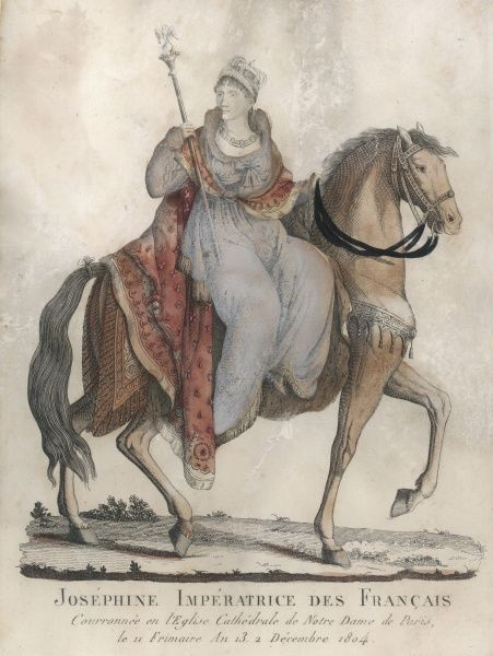 MARIE JOSEPHE ROSE TASCHER empress of France, depicted on a horse but looking as though she might slide off at any moment ! Did she ride to her coronation like this ?
