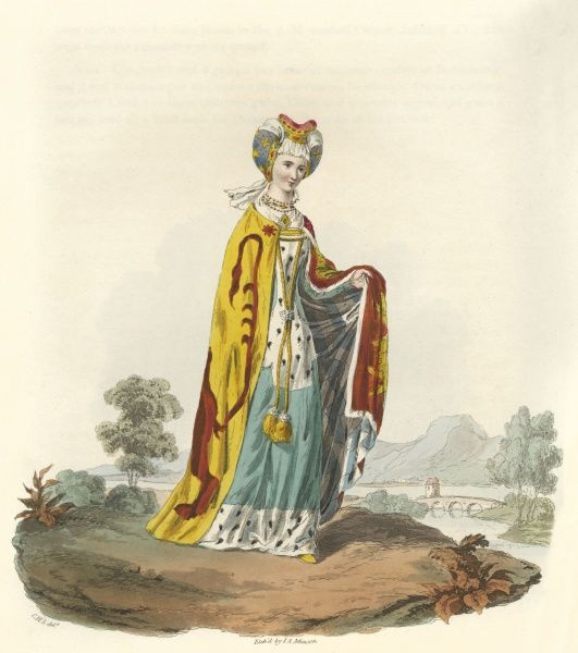 JOYCE (or Jocosa), LADY TIPTOFT AND POWIS, wife of Sir John Tiptoft, Lord T and P. She is depicted in splendid state apparel, with coronet and mantle bearing her arms. Date: 1404 - 1446