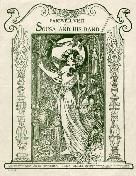 JOHN PHILIP SOUSA nicknamed The March King, American bandmaster and composer: programme for his farewell tour of Britain. Date: 1854 - 1932
