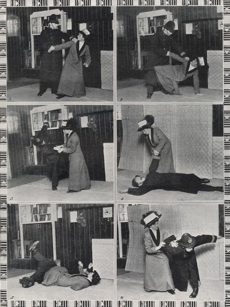 If you want to earn some time throw a policeman! The Ju-Jitsu suffragette shows how a policeman may be tackled. Mrs Garrud, the well-known suffragette, who is only four foot ten but skilled in the art of Japanese wrestling, disposes of a policeman