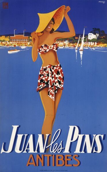 Poster advertising the fashionable resort of Juan les Pins on the Cote d'Azur in the Alpes Maritime region of South East France