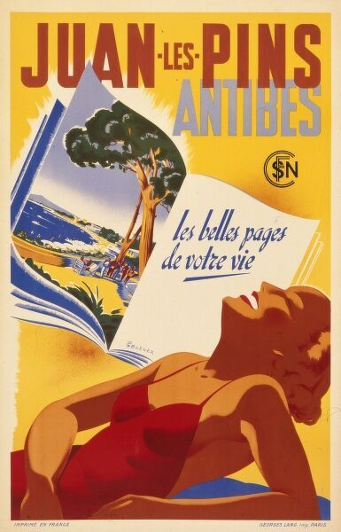 Travel poster advertising the fashionable resort of Juan les Pins on the Cote d'Azur in the Alpes Maritimes south east region of France