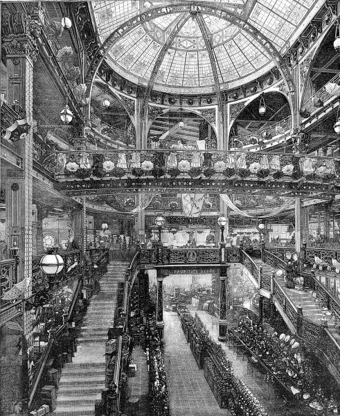Engraving showing the opulent interior of Jules Jaluzot and Company's store in the Boulevard Haussmann, Paris, 1884