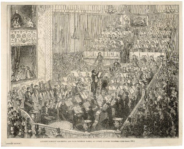 Jullien conducts a concert at Covent Garden Theatre, featuring not only his own concert orchestra but no less than four military bands !