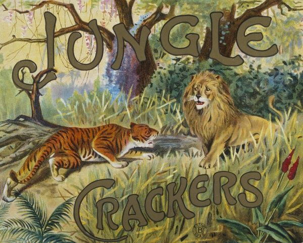 Label design for a Christmas cracker box of Jungle crackers featuring a fearsome tiger challenging a rather meek looking lion