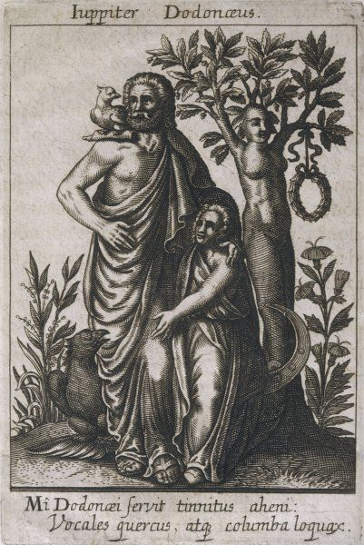 ZEUS / JUPITER DODONEUS whose oracle at Dodona was the oldest in Greece : the prophecies came from the sacred oak, which is depicted here as having human form