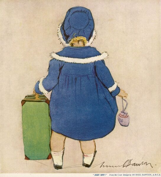 A little girl in a blue coat and hat gets ready to go on her travels with her green suitcase