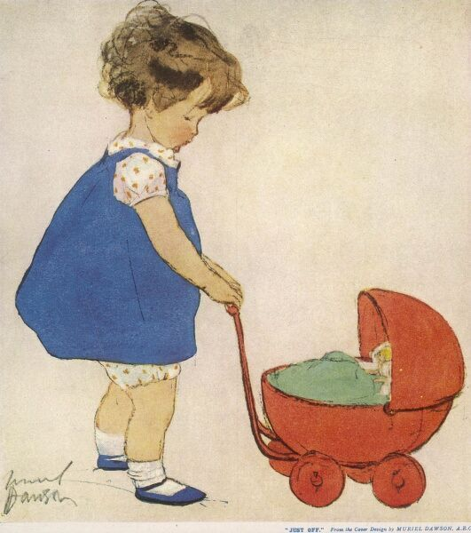 A solemn little girl in a blue pinafore, pushes a bright red toy pram containing her dolls