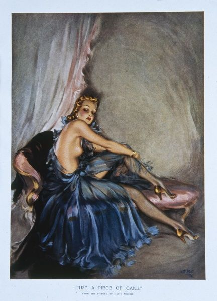 An illustration of a seductive lady, provocatively posed on a chaise lounge. Wright produced a series of over 160 illustrations or 'pin-ups' for 'The Sketch' during the 1940's. David Wright's 'Lovelies' proved hugely popular