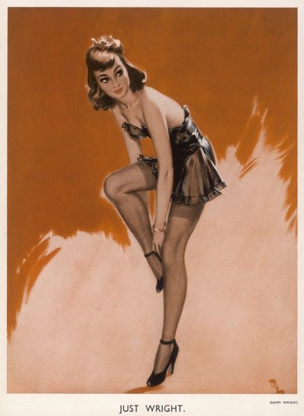 Just Wright by David Wright showing a glamorous woman fixing her shoe. Wright produced a series of over 160 illustrations or 'pin-ups' for 'The Sketch' during the 1940s. David Wright's 'Lovelies' proved hugely popular