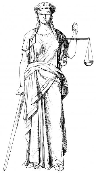 Justice holding scales to symbolise even-handedness, stability and equality