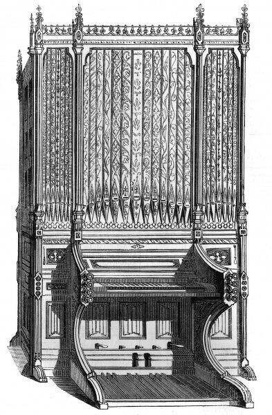 An organ in the Tudor style, designed by Banks and Barry, adapted for a hall or music room. Date: 1851