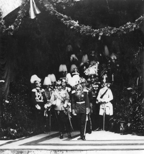 Kaiser Franz Josef I, Emperor of Austria (1830-1916), seen here with others, all in ceremonial uniform
