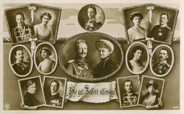 Kaiser Wilhelm II (1859 - 1941), Emperor of Germany, pictured with his wife Augusta Viktoria of Schleswig-Holstein and his seven children (and their husbands/wives)
