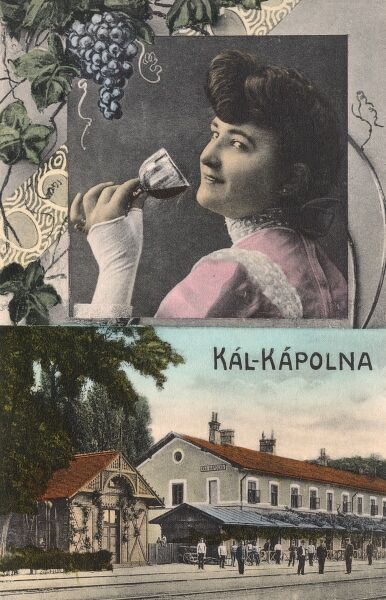 (Kal) Kapolna, Hungary - famous for its wine production. A young Hungarian lady is testing the latest vintage.. Date: circa 1910s