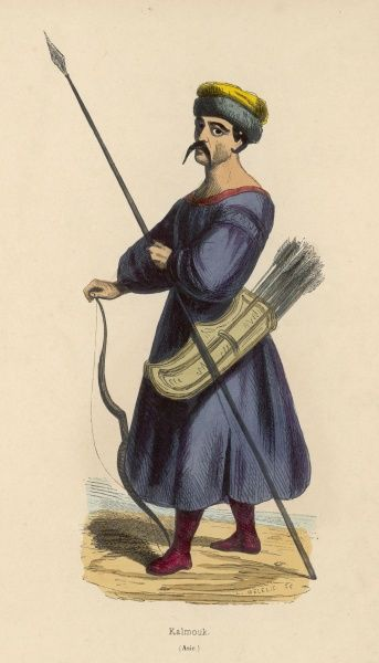 Kalmuck warrior armed with a lance and bow