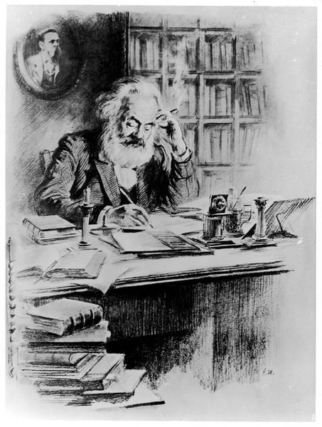 KARL MARX German political theorist - working in his study in London in 1849