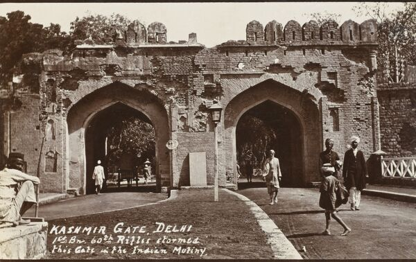 The Kashmir Gate, Delhi, India. During the Indian Mutiny of 1857, the 1st Battalion of the 60th rifles stormed this gate. The effects of their actions can still be seen in the damaged brickwork of the double archway