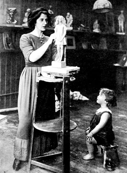 Photograph of Kathleen Bruce, wife of Robert Falcon Scott, and their son, Peter Markham Scott, in Kathleen's studio, 1912. Peter Scott (1909-1989) was later better known as an artist and ornithologist