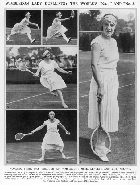 Scenes from a Wimbledon tennis match between the top players, Miss Kathleen McKane and Mlle Suzanne Lenglen, representing England and France respectively