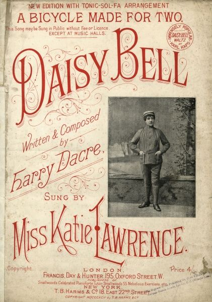 KATIE LAWRENCE Music hall singer, dressed as a man to sing 'Daisy, Daisy'. Date: circa 1890