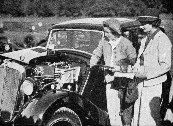Kay Petre (probably the best known female racing driver before the war), and E. Wisdom, another well known female racing motorist, seen here judging in the coachwork competition at the Morris rally at Lilleshall