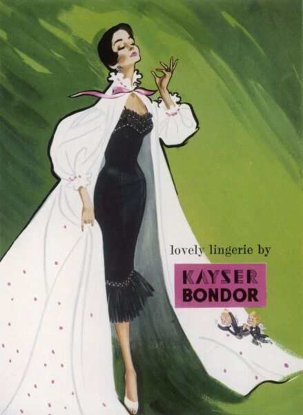 Striking advert for Kayser Bondor lingerie showing a woman in a black negligee with a flounced white dressing gown set against a vivid green background