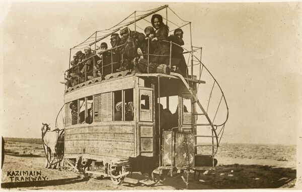 A fabulous photographic postcard depicting an Iraqi horse tram. The tram is FAR earlier than the date of the card!