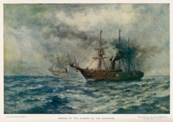 Engagement between the Federal steam-sloop 'Kearsarge' and the Confederate war-steamer 'Alabama' which ends when 'Kearsarge' sinks the 'Alabama&#39