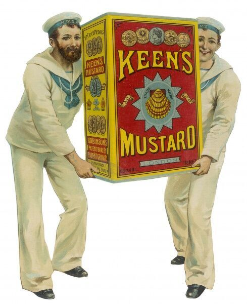 Advertisement for Keen's mustard which feature two sailors carrying a giant tin