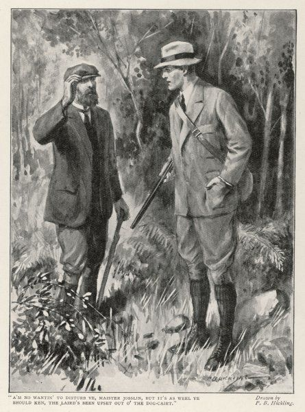 A gamekeeper shows proper respect to his master by touching his cap (implying that he would doff it if circumstances permitted)