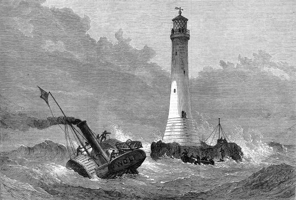Engraving of the arrival of the lighthouse keepers at the brand new Wolf Rock lighthouse, January 1870. This lighthouse, situated 8 miles from Land's End, Cornwall, was built to a design by James Douglass between 1862 and 1870