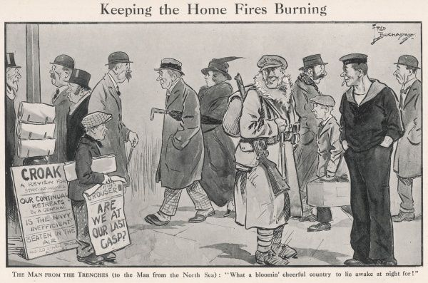 Humorous depiction of a cheery soldier and sailor home on leave during World War I and feeling that the pessimism of the Home Front, as displayed in newspaper headlines and the long faces of civilians, is rather gloomy and unnecessary