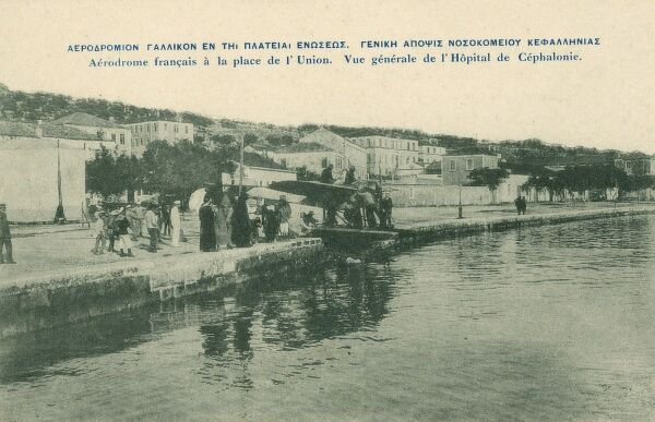 A French Seaplane on the Quay near the Aerodrome and Hospital on the Greek Island of Kefalonia