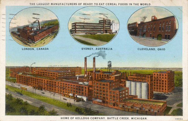The home of Kellogg Company, Battle Creek, Michigan, and three other of the company's plants