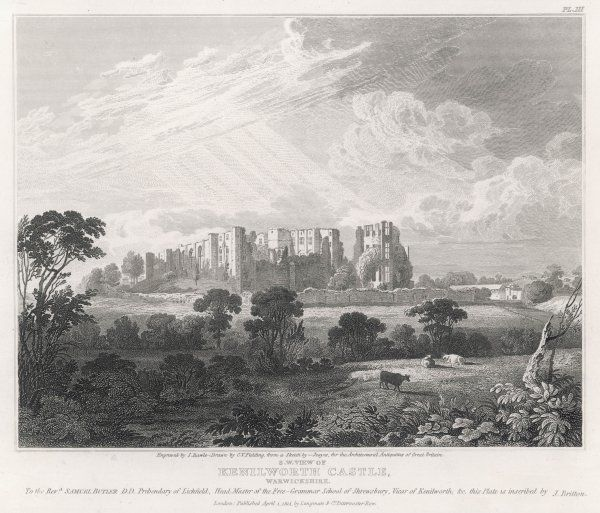 A distant view from the southwest of the ruins of Kenilworth Castle, Warwickshire, whose owners included Simon de Montfort and John of Gaunt