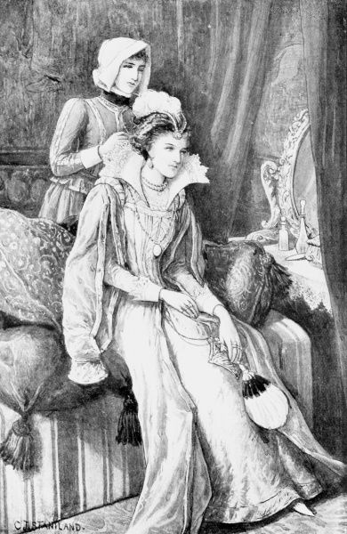 Have done with these busy fingers, Janet - Queen Elizabeth I, seated on the edge of her bed, instructs her handmaiden who appears to be adjusting her Queen's ruff