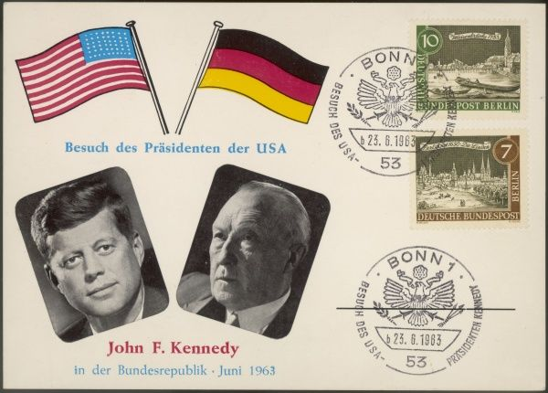 A Card commemorating John F. Kennedy's presidential visit to Germany, with portraits of him and Chancellor Konrad Adenauer