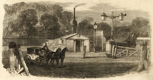 Engraving showing the Kensington turnpike toll gate in London, c.1864. After many years campaigning by Londoners, a large number of toll gates were removed from the city's roads in the early 1860's