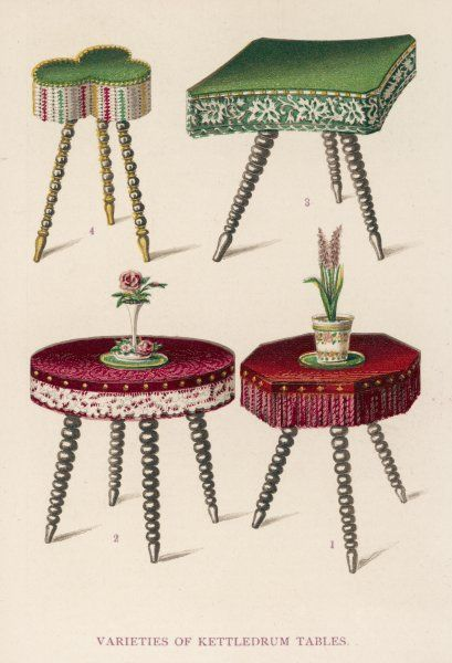 Four kettledrum tables - small occasional tables which can be put here, there or everywhere, with knick-knacks, objets d'art and souvenirs from Broadstairs on them