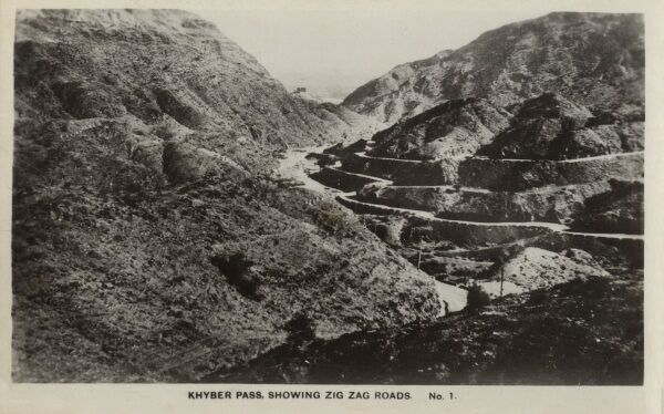 Khyber Pass, Afghanistan, showing zig zag roads