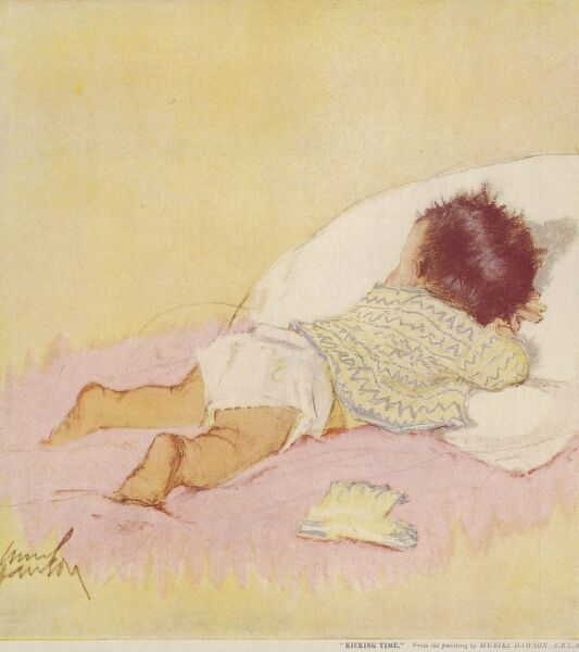 Charming illustration of a baby lying on its tummy wearing a nappy and knitted cardigan