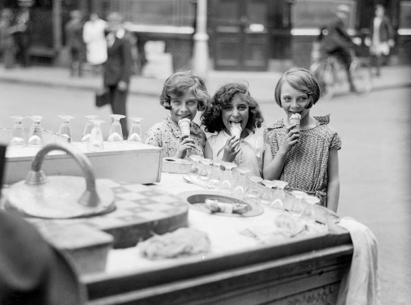 Three happy little girls, eating ice creams! Date: early 1930s
