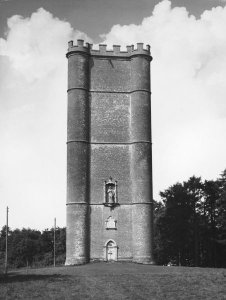 "King Alfred's Tower, (1722) 160 feet high, on the Somerset - Wiltshire border: ""Alfred the Great, A.D. 879, on this summit erected his standard against Danish invaders&quot"
