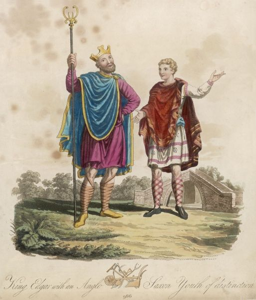 ENGLISH ROYALTY King Edgar I the Peaceful or Peaceable of England with youthful attendant