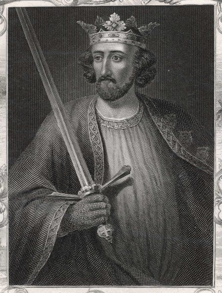 KING EDWARD I Depicted holding a sword Decorative border showing events from his reign