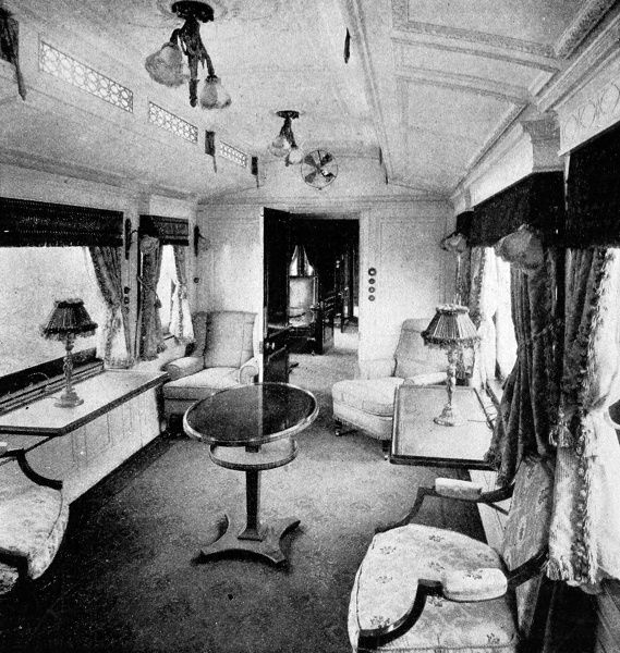 King Edward VII's newly built train on the London and North Western Railway showing a view of the royal day compartment. The train was first used on the royal family's journey to Gopsall