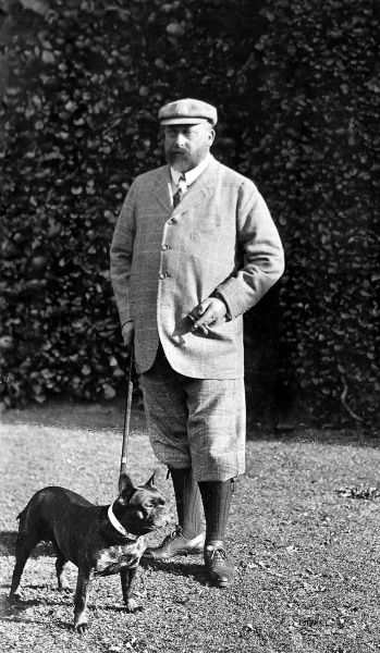 Photographic portrait of King Edward VII (1841-1910) of Great Britain and Ireland, pictured in the attire of a 'country gentleman', with a bulldog, date unknown