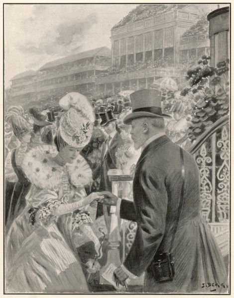 The King is shown here greeting a lady at the National Garden party at Ascot